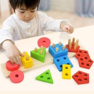 [ Nhập mã TOYJUNE giảm 10k] Thả hình gỗ 3D trí tuệ Giáo dục 5 ô khối cho bé