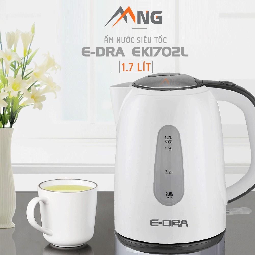Ấm đun nước siêu tốc  EDra - EK1702L dung tích 1,7 lít, thép không gỉ, có đế xoay không, tự ngắt khi nước sôi