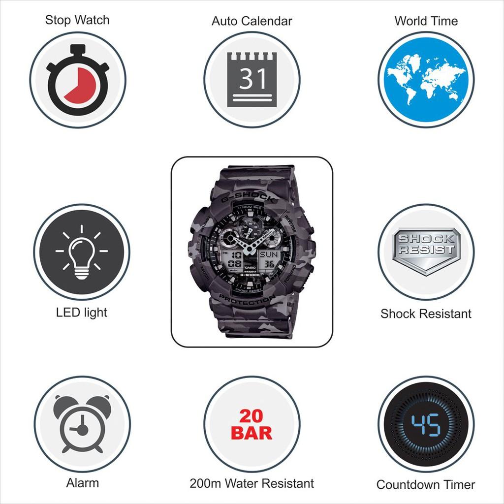 Đồng hồ nam CASIO G SHOCK GA-100CM-5ADR<br>Chính hãng - Dây Nhựa Rằn Ri Mạnh Mẽ