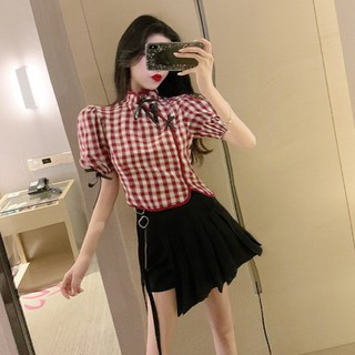 2020 summer new French retro puff sleeve plaid top black high waist pleated half-length skirt pants two-piece suit