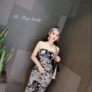 Đầm body thun in hoa kèm băng đô