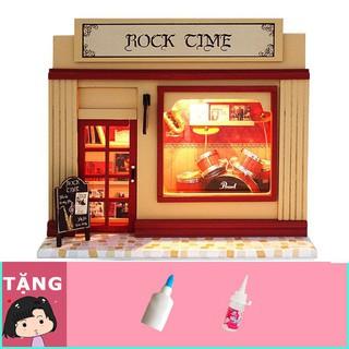 GIÁ SỐC- HCM- HOT- Mô hình nhà gỗ tự ráp Shop nhạc cụ Rock time