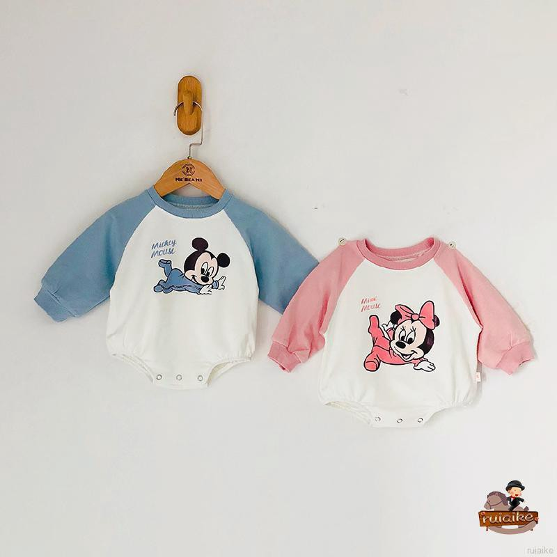 🍭 ruiaike 🍭 Baby Girls Boys Cartoon Mickey Rompers Bodysuit Jumpsuit One Piece Toddle Clothers