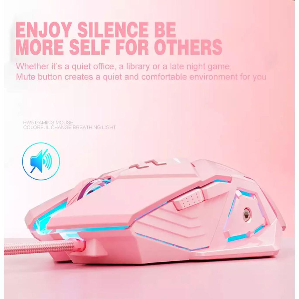 Chuột chơi game có dây Inphic PW5 màu hồng cute Hỗ trợ điều chỉnh DPI 4 tốc độ - Chính hãng