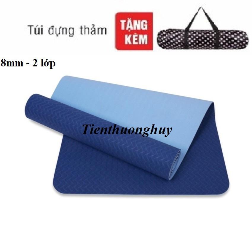 thảm yoga 8mm 1-2 lớp xanh navy (tặng túi + dây)