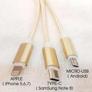 [Freeship] Dây Sạc điện thoại 3in1 gồm microUSB, lightning, Type-C siêu bền Đầu Bọc Dù đa năng mã sản phẩm LY4606 thumbnail