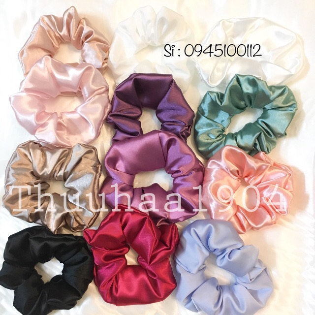 Cột tóc Vải Scrunchies - dây buộc tóc vải các màu vintage ảnh thật ( bảng 1)