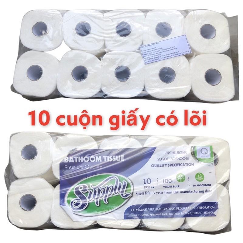 giấy vệ sinh thái lan gia nguyen 1 lốc 10 cuộn có lõi