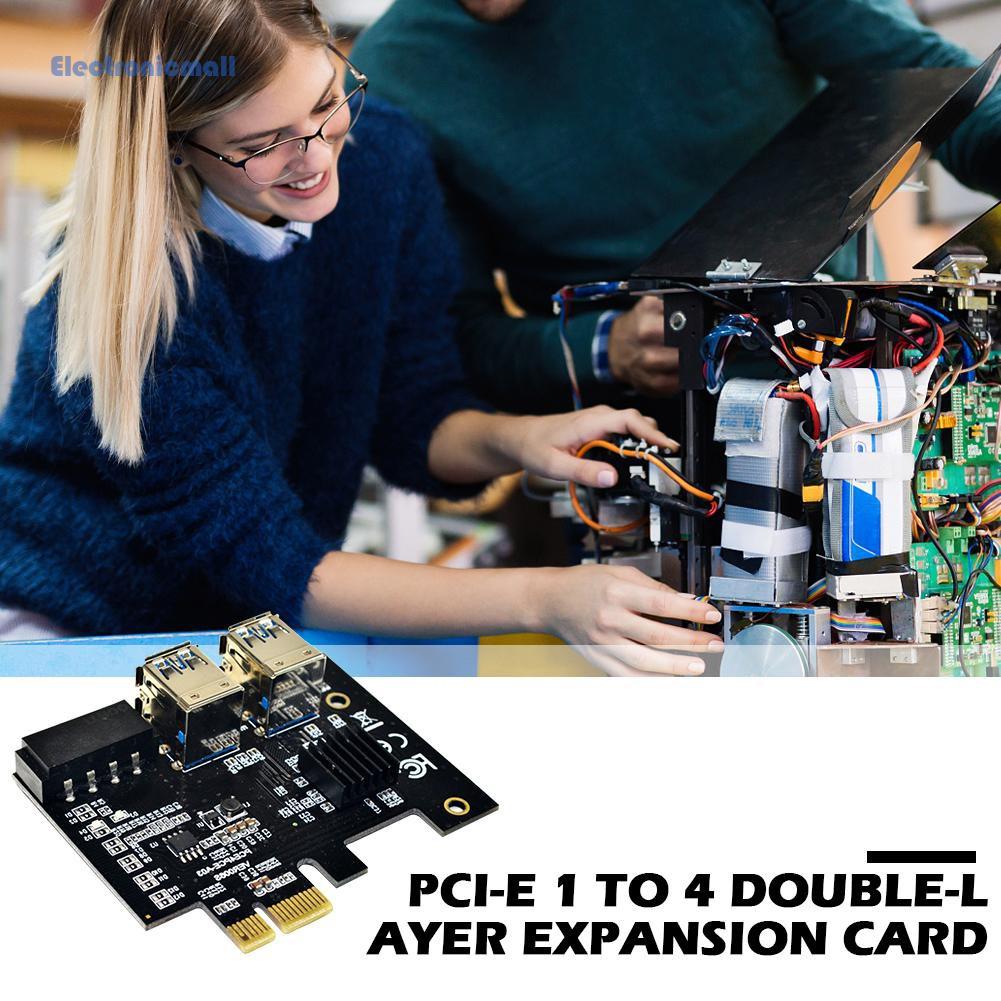 Linh kiện kết nối ElectronicMall01 PCI-E to PCIe 1x ra 16x 1 ra 4 USB 3.0 4 Pin chuyên dụng cho BTC