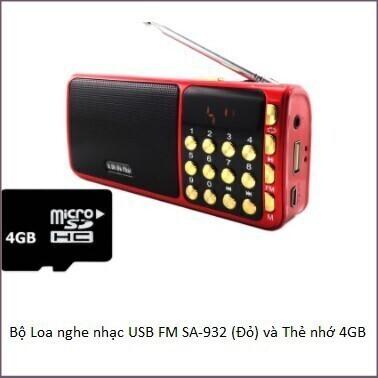[Hàng Loại 1] Bộ Loa nghe nhạc USB FM SA-932 (Đỏ) và Thẻ nhớ 4GB Giá chỉ 236.250₫