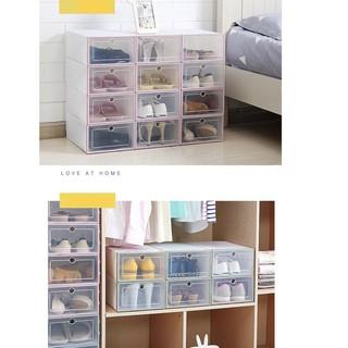 Set 3 hộp đựng giày bằng nhựa màu trắng B6I3 1 bộ DIY