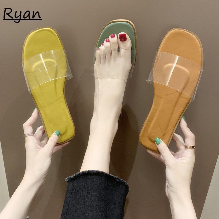 Slipper girl heart flat bottom wild word beach sandals and slippers women wear t