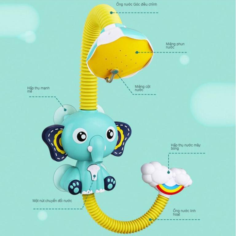 Vòi sen hình con voi cho bé-Đồ dùng nhà tắm-Đồ chơi nhà tắm