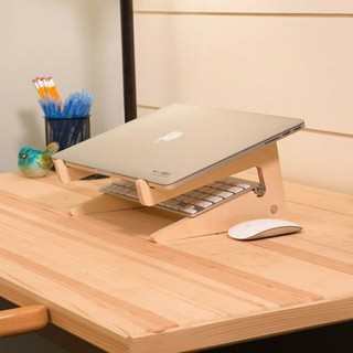 Giá gỗ đỡ laptop macbook, kệ laptop tản nhiệt tự nhiên bằng gỗ cho laptop (Tặng giá đỡ điện thoại)
