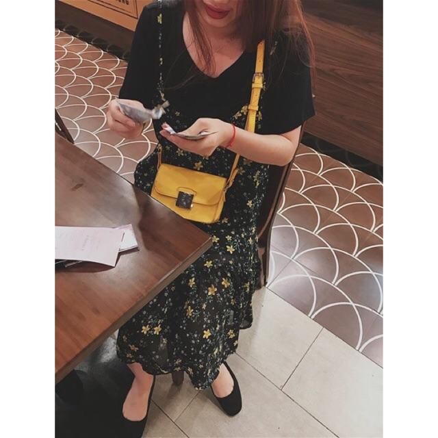 Set áo thun + váy maxi hoa vàng