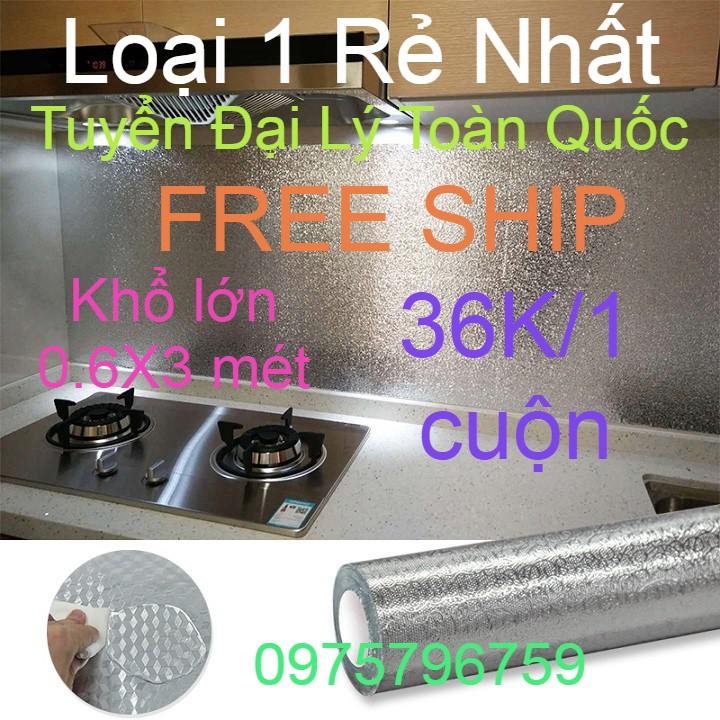 [FREE SHIP] Cuộn giấy bạc dán bếp cách nhiệt, miếng decal dán tường nhà bếp khổ lớn 0,6x3 mét