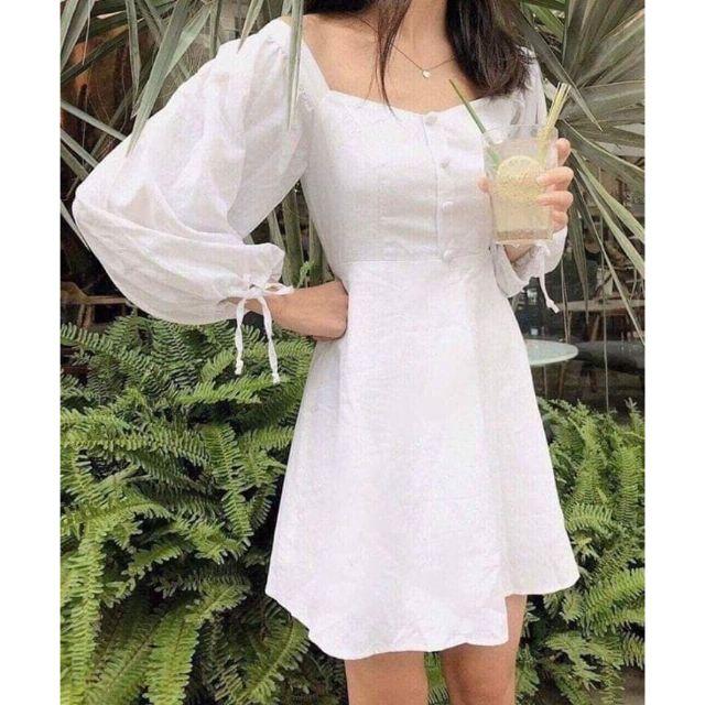 Đầm trắng cổ vuông tay phồng (có ảnh thật)