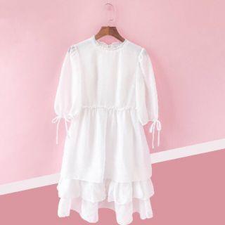 Đầm babydoll bèo trắng kèm ảnh thật