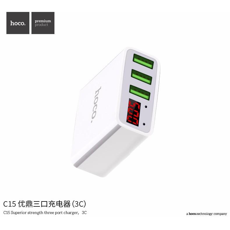 Cốc sạc 3 cổng Hoco C15 3A - màn hình LCD hiển thị điện áp - hàng chính hãng
