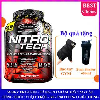 Sữa tăng cơ cực mạnh Whey Protein Nitro Tech của Muscle Tech hương dâu hộp 1.8kg 41 lần dùng – Phân phối chính thức