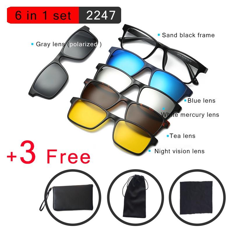 6 In 1 Sungrass 6 trong 1 Từ tính Kính Clip On Ống kính phân cực Kính râm Sunglasses