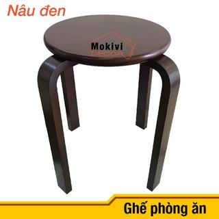 Ghế gỗ mặt tròn chân dẹp (NÂU)
