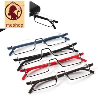 🍒ME🍒 Vision Care Reading Glasses Portable Semi Rimless Reader Eyeglasses with Case TR90 Ultralight Unisex Half Frame/Multicolor