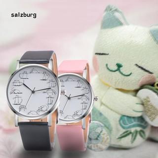Đồng hồ nữ mặt in hình mèo hoạt hình dễ thương dây giả da thumbnail