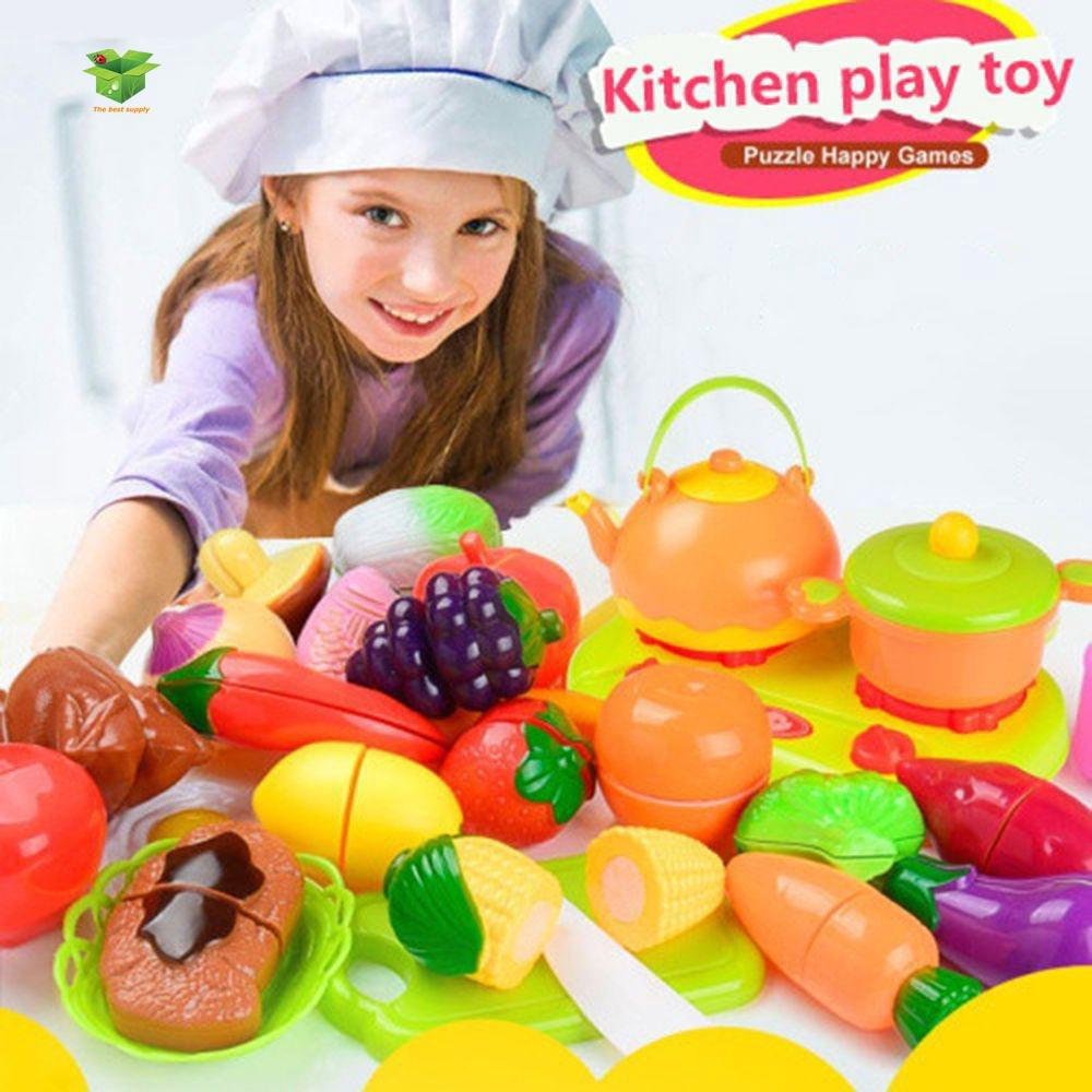 Kids Puzzle Fruit Vegetable Food Cutting Pretend Play Kitchen Toys Playset