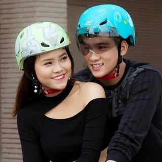 Mũ xe đạp cao cấp JC có kính, helmet bicycle JC thumbnail