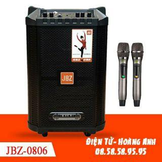Loa kéo mini JBZ-0806, loa karaoke 2 tấc, công suất 300W + hai micro cao cấp