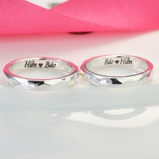 Nhẫn cặp đôi nam nữ bạc thật giá rẻ khắc tên ND0361 - Trang Sức TNJ