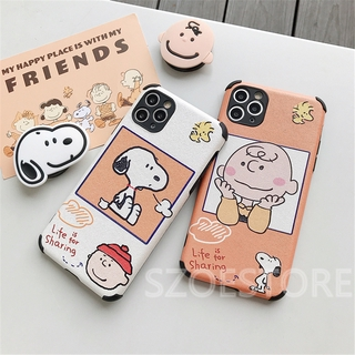 Cartoon Cute Peanuts Snoopy Charile Skin-Friendly Silk Pattern Holder Soft Phone Case Cover for iPhone 11 Pro Max X XS XR XSMax 8 7 6 6s Plus SE 2020
