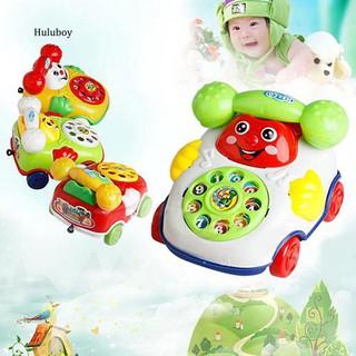 HLBY♣Baby Kids Cute Educational Developmental Cartoon Smile Face Toy Phone Car