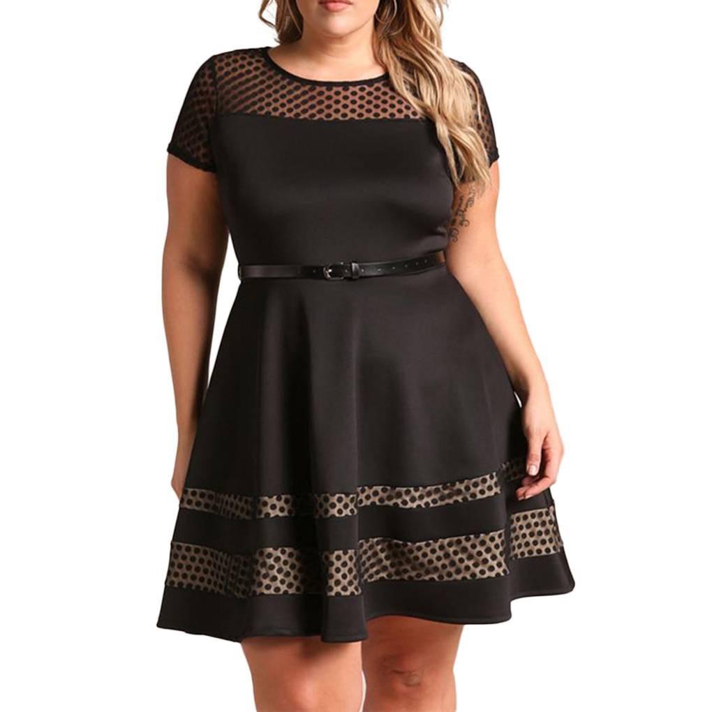 Đầm Xòe Ngắn Tay Kèm Thắt Lưng Thời Trang Cho Nữ