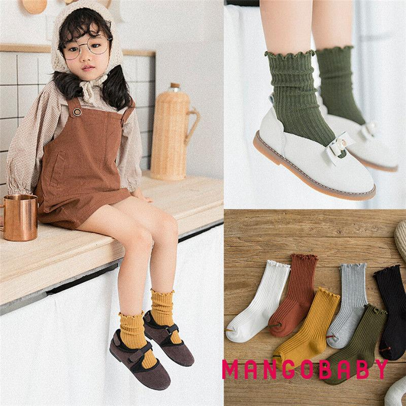 ♬MG♪-Baby Kids Girls Spring Winter Cute Knee High Cotton Tutu Bow Lace Socks 1-8Y