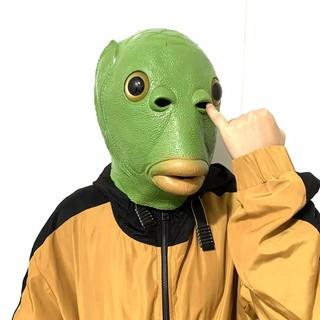 Tik Tok Mặt Nạ Đầu Cá Xanh Vui Nhộn Mũ Vui Nhộn Funny Green Fish Head Mask Funny Headgear