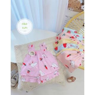 Bộ đồ bé gái chất liệu vải lanh lụa Loại 1, thiết kế áo cánh tiên, quần bèo xinh xắn, điệu đà cho bé từ 8 – 20kg.