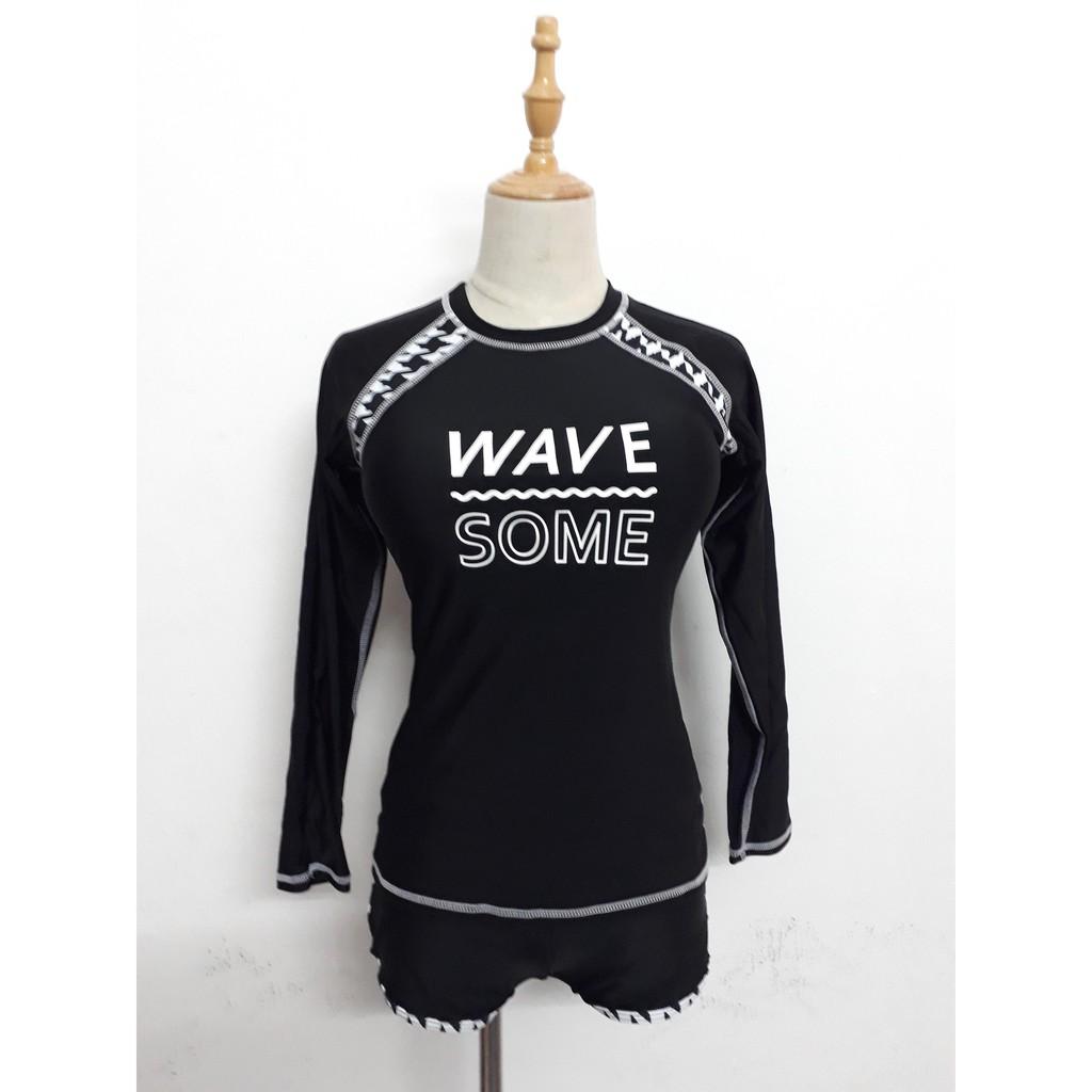 Có sẵn Set đồ bơi nữ bikini dài tay thun lạnh với quần đùi kín đáo, chống nắng - ảnh...
