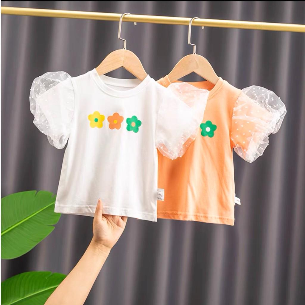 Áo Phông cho bé Áo Phông cao cấp tay bồng phối voan lưới phong cách Hàn Quốc cho bé gái