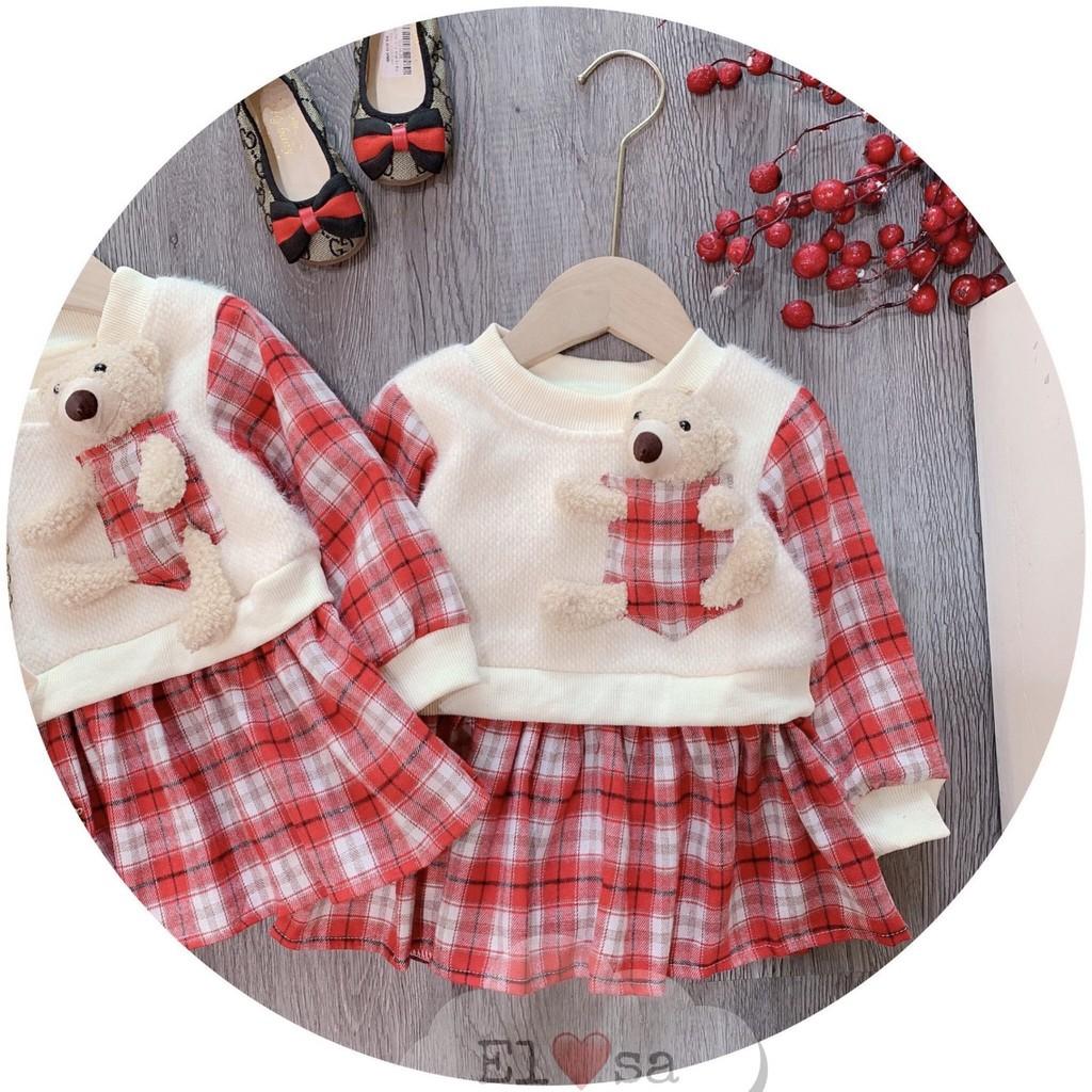 Váy Bé Gái Kẻ Caro Dạ Lông Kèm Gấu Teddy