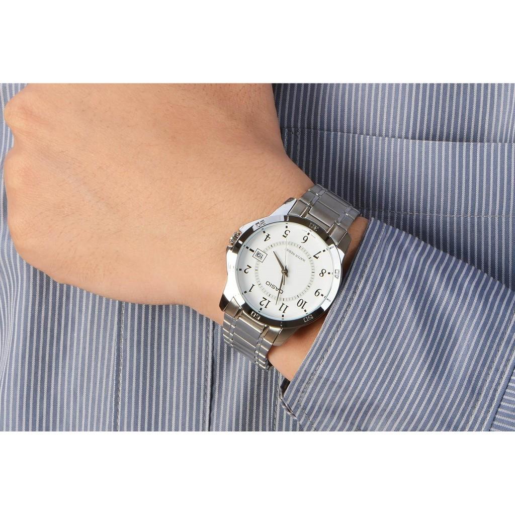 Đồng hồ nam CASIO chính hãng MTP-V004, dây kim loại