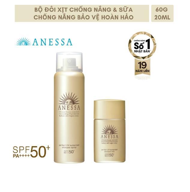 Bộ đôi xịt và sữa chống nắng Anessa(Perfect UV SunscreenSkincare Spray 60g+Perfect UV SunscreenSkincare Milk 20ml)_95237 thumbnail
