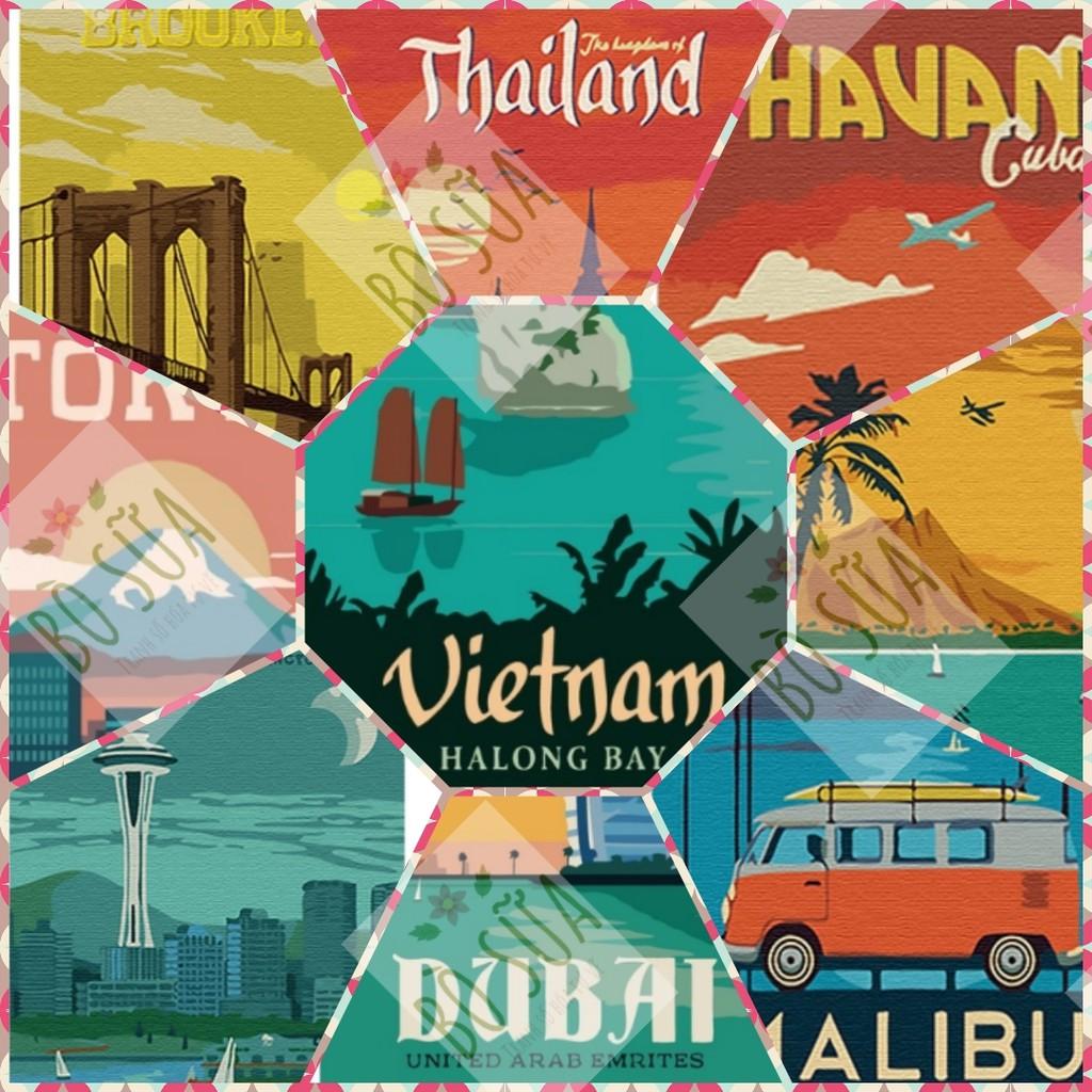 Tranh tô màu sơn dầu số hóa Tranh tô màu số hóa du lịch vòng quanh thế giới địa danh nổi tiếng size mini 20x30cm