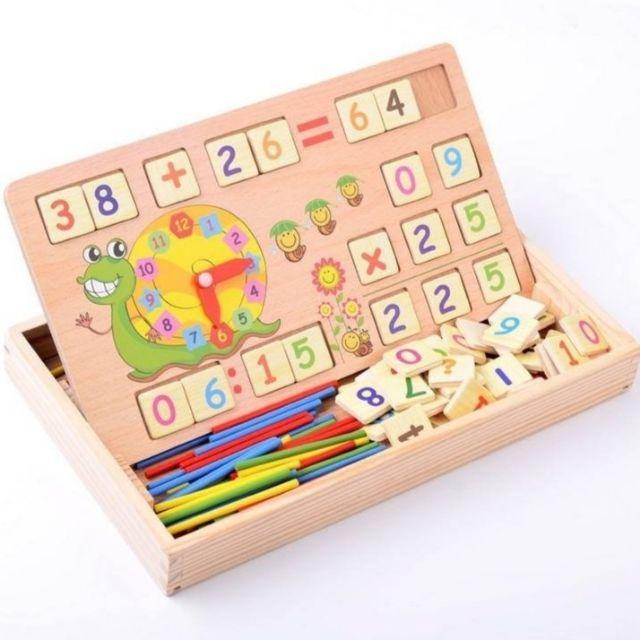 Bộ số học toán kèm que tính đa năng 2 mặt bảng hình con Sên cho bé