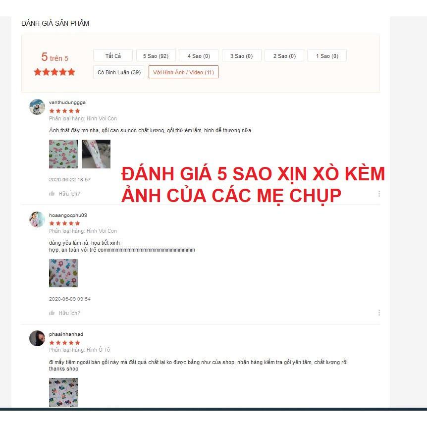 Gối Cao Su Non Cho Bé Chống Móp Đầu Bẹt Đầu Méo Đầu , Gối Chống Trào Ngược Cho Bé Mềm Mại Loại Lớn (46x26cm)
