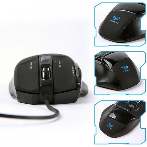 Chuột máy tính có dây chơi game AULA 928S màu đen có đèn LED RGB