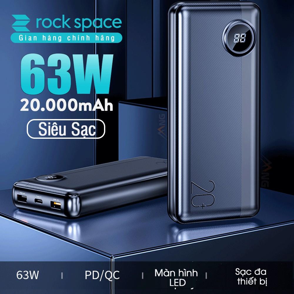 Pin sạc dự phòng Rockspace P75 20.000 mAh 63W  sạc được laptop hỗ trợ sạc nhanh chuẩn PD, QC