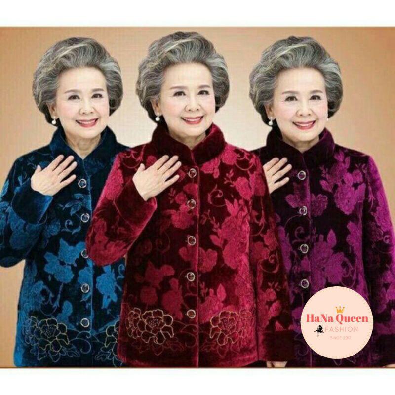 Áo ấm cho bà, áo khoác nhung đại hàn cho người già (video cận chất)