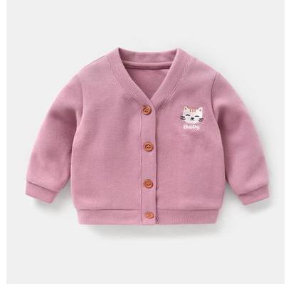 Áo khoác len dệt kim dáng cadigan cho bé trai bé gái phong cách hàn quốc